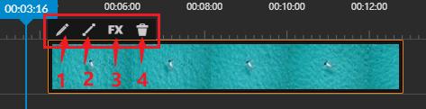 動画クリップの上端のセクション