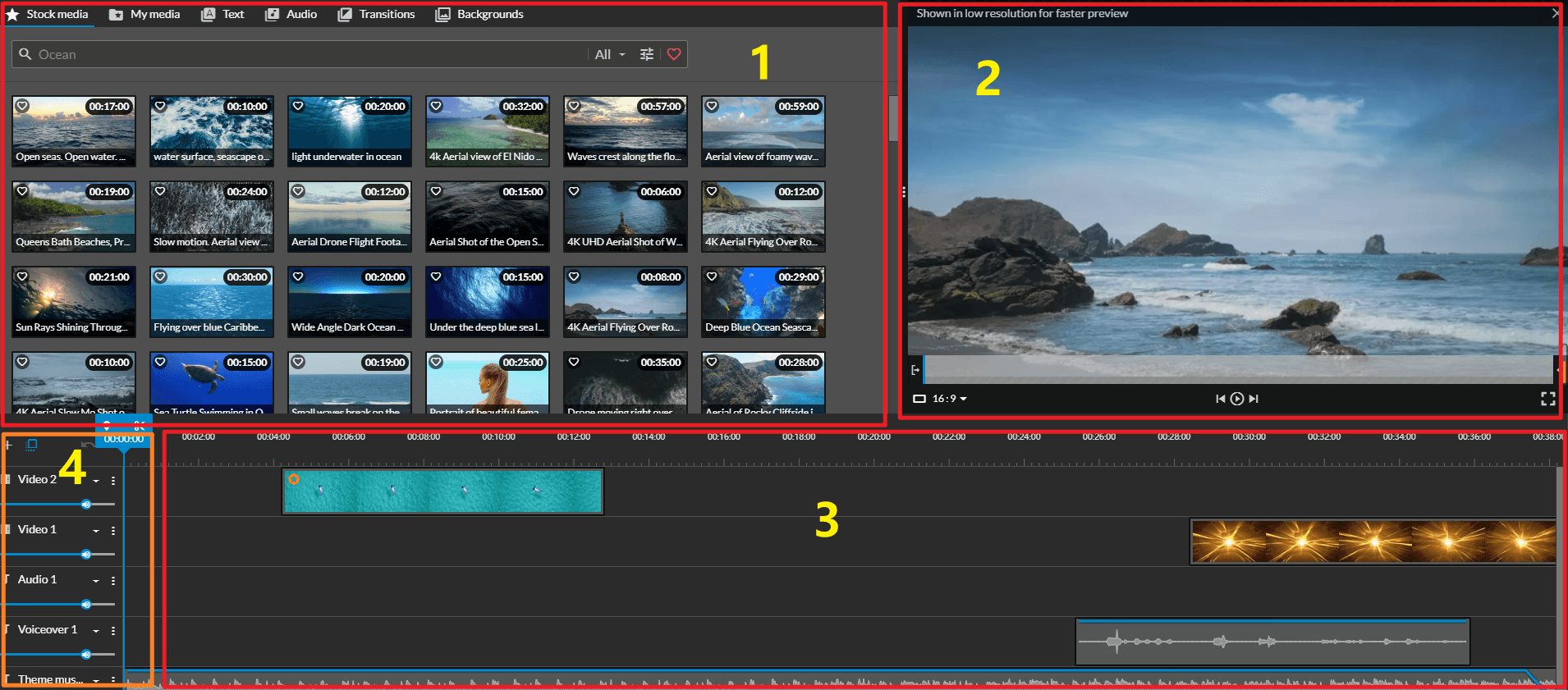 WeVideo インタフェース