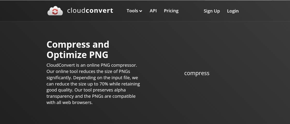 Compress PNG with Cloud convert